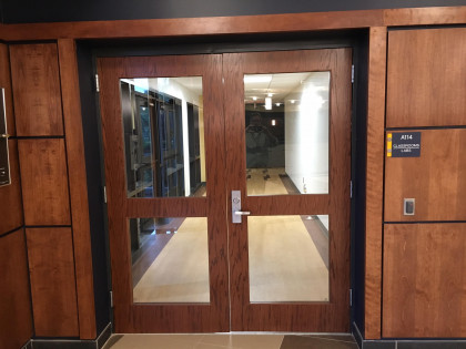 The entrance to academic areas. All entrances to academic areas are always locked, requiring an a...