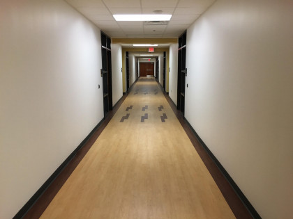 A look down one of the academic area hallways.