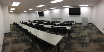 Another one of our five SHS classrooms, this one set up for traditional lecturing.