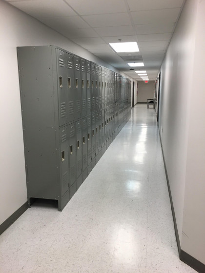 Student lockers outside of the SHS Cadaver Anatomy Lab