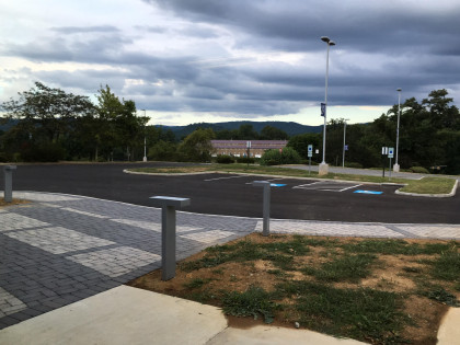 The main entrance parking lot viewed from one of our study spaces